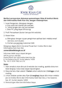 Prosedur Memposting Iklan Lowongan Kerja di IBI Kwik Kian Gie