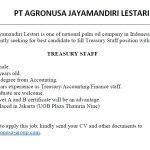 Job Advertisement - Treasury Staff